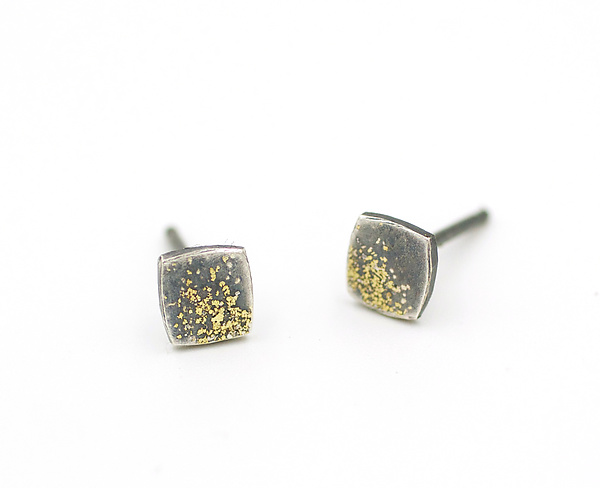 Fused Gold and Silver Lichen Cushion Square Posts