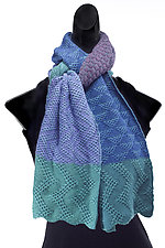 Doubleknit Lace Colorblock Scarf by Robin Bergman  (Knit Scarf)