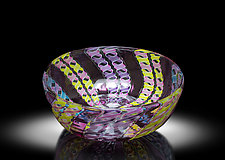 Multi-Color Zanfirico Bowl by April Wagner (Art Glass Bowl)