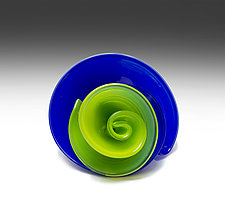 Lapis and Granny Apple Curls by April Wagner (Art Glass Sculpture)