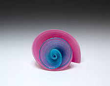 Pink and Opal Blue Curls by April Wagner (Art Glass Sculpture)