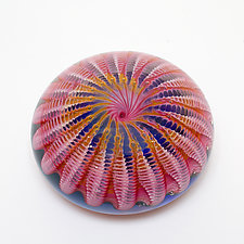 Pink Sea Urchin by April Wagner (Art Glass Paperweight)