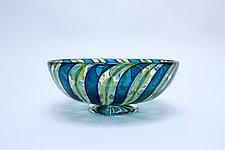 Petite Sea Green Zanfirico by April Wagner (Art Glass Bowl)
