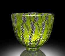 LIme Zanfirico Bowl by April Wagner (Art Glass Bowl)