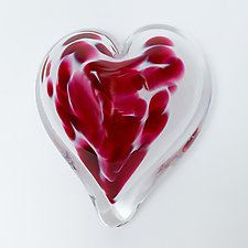 Forget-Me-Not Heart Paperweight by April Wagner (Art Glass Paperweight)