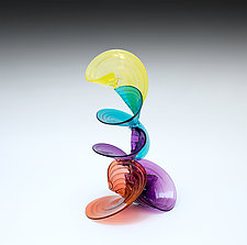 Multicolored Curls by April Wagner (Art Glass Sculpture)