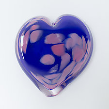 Larkspur Heart Paperweight by April Wagner (Art Glass Paperweight)