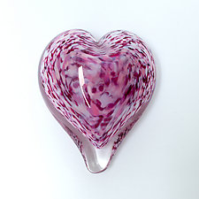 Wild-Rose Heart Paperweight by April Wagner (Art Glass Paperweight)