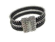 Beaded Leather Double Strand Bracelet with Magnetic Clasp by Erica Zap (Leather & Silver Bracelet)
