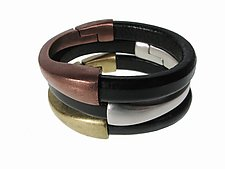 Set of Crescent Moon Magnetic Clasp Leather Bracelets by Erica Zap (Leather & Metal Bracelets)