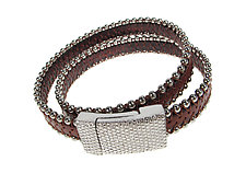 Silver-Beaded Black-Leather Wrap Bracelet with Magnetic Clasp by Erica Zap (Leather & Silver Bracelet)