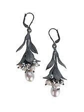 Leaf and Pearl Cluster Drop Earrings by Erica Zap (Silver & Pearl Earrings)