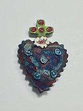 Raku Heart IV by Lilia Venier (Ceramic Wall Sculpture)