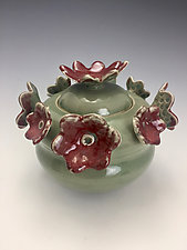 Red Blossoms by Lilia Venier (Ceramic Jar)
