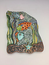 Fishes, Fishes Up by Lilia Venier (Ceramic Wall Sculpture)