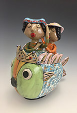 Unexpected Ride Fish Jar with Two Women by Lilia Venier (Ceramic Jar)