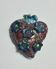 Raku Heart IX by Lilia Venier (Ceramic Wall Sculpture)
