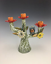 Red Flower Candelabra by Lilia Venier (Ceramic Candleholder)