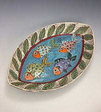 Going to School II by Lilia Venier (Ceramic Platter)