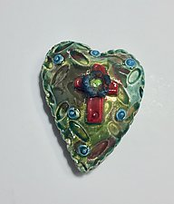 Raku Heart VIII by Lilia Venier (Ceramic Wall Sculpture)