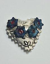 Raku Heart III by Lilia Venier (Ceramic Wall Sculpture)