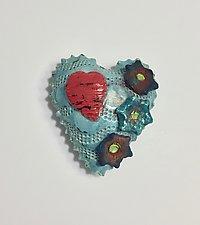 Raku Heart I by Lilia Venier (Ceramic Wall Sculpture)