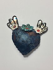 Raku Heart X by Lilia Venier (Ceramic Wall Sculpture)