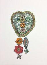 Heart Tile V by Lilia Venier (Ceramic Sculpture)