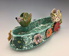 Two Birds on Casserole with Flowers by Lilia Venier (Ceramic Platter)