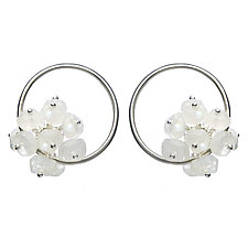 Small Adva Moonstone Hoops by Michelle Pajak-Reynolds (Silver & Stone Earrings)