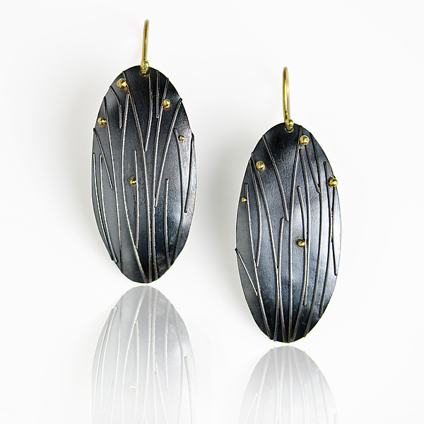 Midnight Grasses Long Oval Earrings