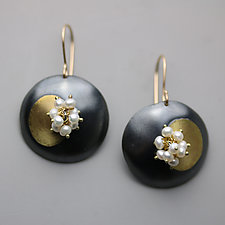 Midnight Discs and Pearl Clusters by Wendy Stauffer (Gold, Silver & Stone Earrings)