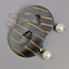 Gold Stripes and Pearls by Wendy Stauffer (Gold & Pearl Earrings)