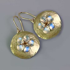 Hammered Gold Petal with Rainbow Moonstone Flower by Wendy Stauffer (Gold & Stone Earrings)
