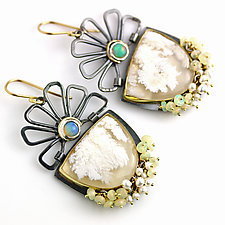 White Plume Agate and Hinged Opal Flowers by Wendy Stauffer (Gold, Silver & Stone Earrings)