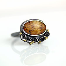 Fossil Coral with French Knots and Dots Ring by Wendy Stauffer (Gold, Silver & Stone Ring)