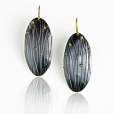 Midnight Grasses Long Oval Earrings by Wendy Stauffer (Gold & Silver Earrings)