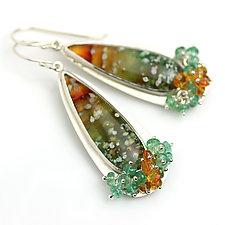 Ocean Jasper Dangles with Emerald and Garnet Fringe by Wendy Stauffer (Silver & Stone Earrings)