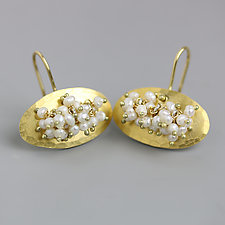 Gold Ovals with Pearl Clusters Earrings by Wendy Stauffer (Gold & Stone Earrings)