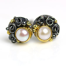 Pearls with French Knots & Gold Dots Post Earrings by Wendy Stauffer (Gold, Silver & Stone Earrings)