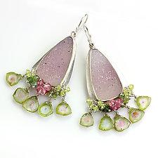 Sparkling Pink Drusy Earrings with Watermelon Tourmaline Fringe by Wendy Stauffer (Silver & Stone Earrings)