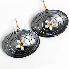 Midnight Ovals and Pearl Flower Earrings by Wendy Stauffer (Silver & Pearl Earrings)