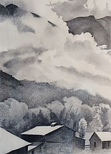 Clouds, Trees, Barns by Meredith Nemirov (Charcoal Drawing)