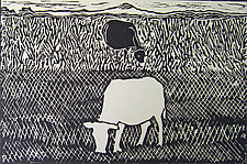 Black Cow/White Cow by Meredith Nemirov (Woodcut Print)