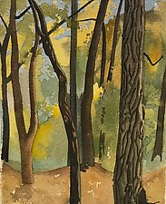 Autumn Tree Trunks by Meredith Nemirov (Watercolor Painting)
