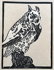 Great Horned Owl - Artist's Proof with Chine Colle by Meredith Nemirov (Woodcut Print)