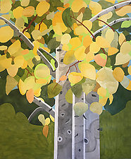 Sunshine on Autumn Aspen by Meredith Nemirov (Acrylic & Watercolor Painting)
