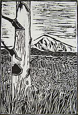 White Aspen/Lone Cone by Meredith Nemirov (Woodcut Print)