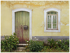 Yellow Wall and Green Door by William Lemke (Color Photograph)