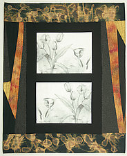 Tulips in Reverse by Peggy Brown (Fiber Wall Hanging)